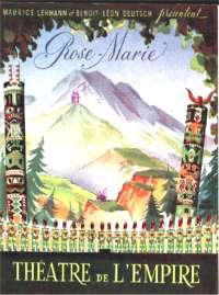 Affiche du Théâtre de l'Empire pour l'Opérette Rose-Marie